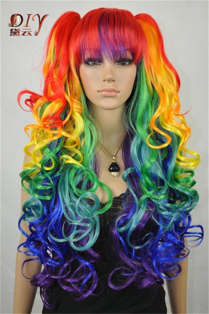 Кк 003288 Kanelaon шелковый женщины многоцветные волнистые японии аниме косплей длинные волосы полный парик