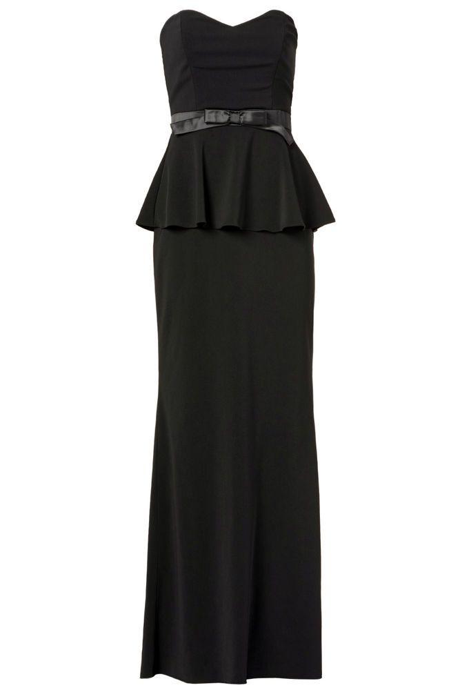 Badgley Mischka Black Waist-Bow Women\'s Size 6 Peplum Sheath Dress ...