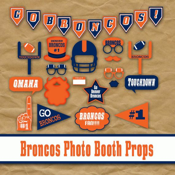 Denver Broncos Football Photo Booth Props and Decorations - Super Bowl 50 Party Printables and Party Decorations