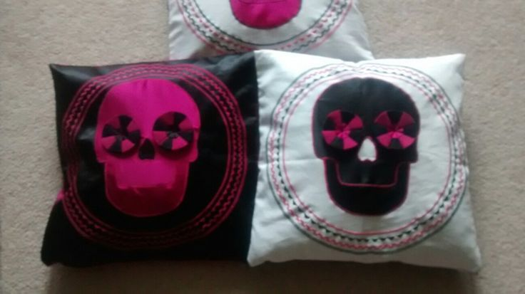 Black, white and pink cushions. https://folksy.com/items/6590019-Skull-Applique-Cushion