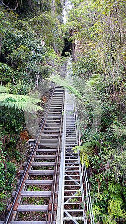 Rail tracks going into the old disused coal mines in  the beautiful blue mountains in New South Wales, Australia