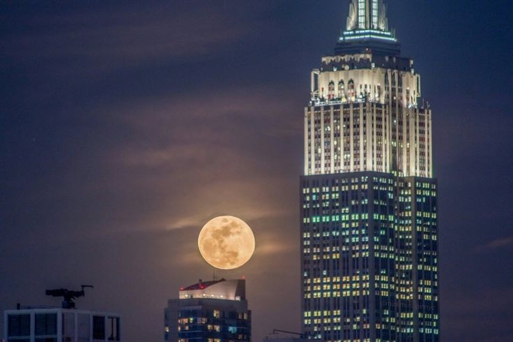 New York City Feelings - Incredible full moon over New York City by...