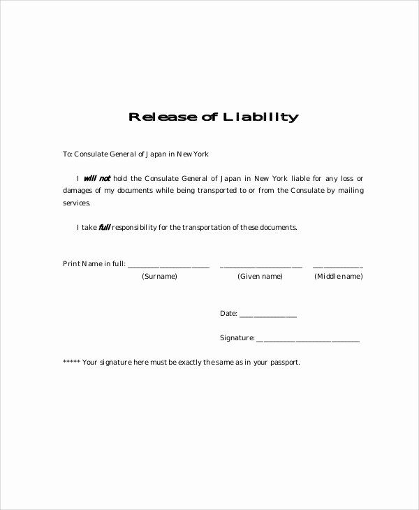 General Liability Waiver Form Template Luxury 9 Free Release Of Liability Form Samples Business Letter Template Templates Ms Word