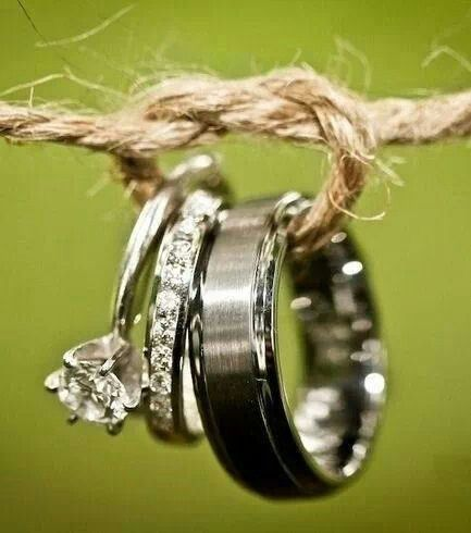 "Rings. Wedding. Photograph. Beautiful. ""Tying the knot."" This is a super cute idea!"