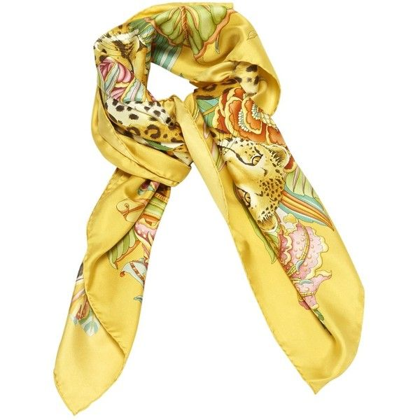 Pre-owned Salvatore Ferragamo Silk Scarf (620 NOK) ❤ liked on Polyvore featuring accessories, scarves, yellow, yellow shawl, salvatore ferragamo, pure silk scarves, yellow scarves and silk scarves