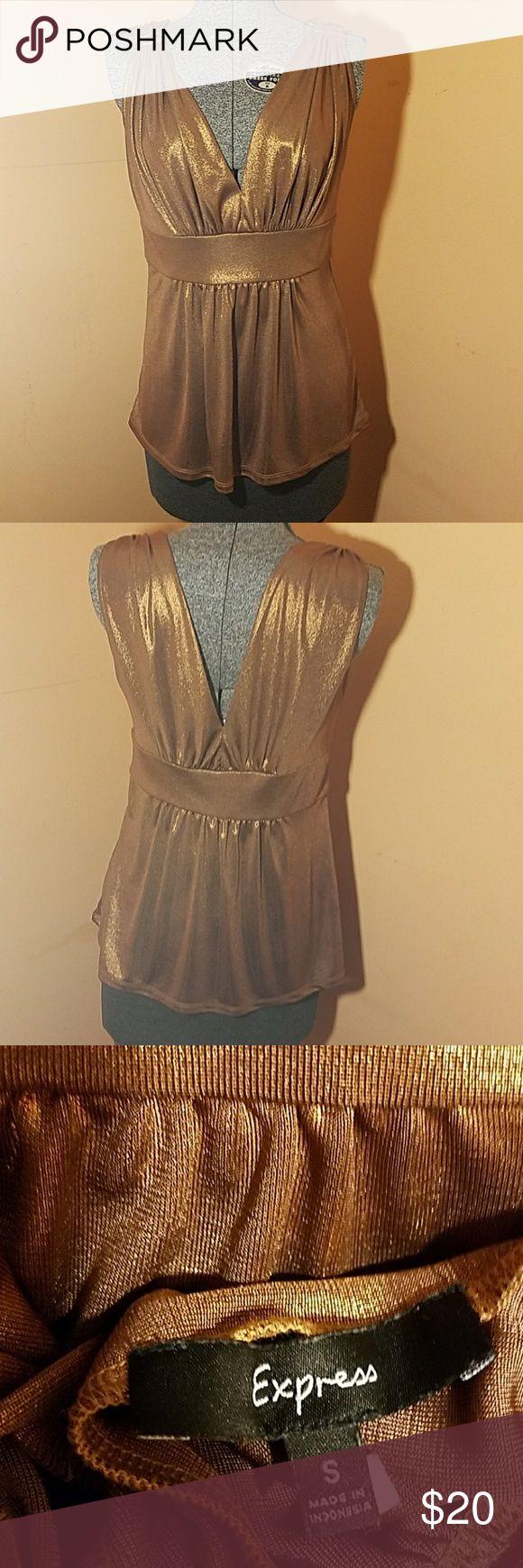 Selling this Plunge bronze metallic blouse on Poshmark! My username is: erdelizabeth. #shopmycloset #poshmark #fashion #shopping #style #forsale #Express #Tops