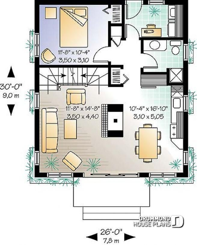 Discover The Plan 2932 Mimosa Which Will Please You For Its 3 Bedrooms And For Its Cottage Chalet Cabin Styles House Plans Tiny House Plans Small House Plans