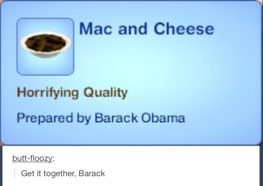 If he can't even make Mac & Cheese, should we trust him with a country? XD Oh sims.