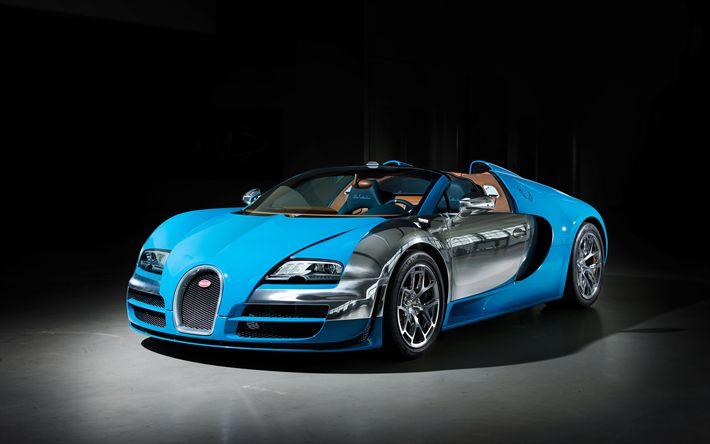 Download wallpapers 4k, Bugatti Veyron Grand Sport Vitesse, hypercars, blue Veyron, sportscars, Bugatti, Bugatti Veyron