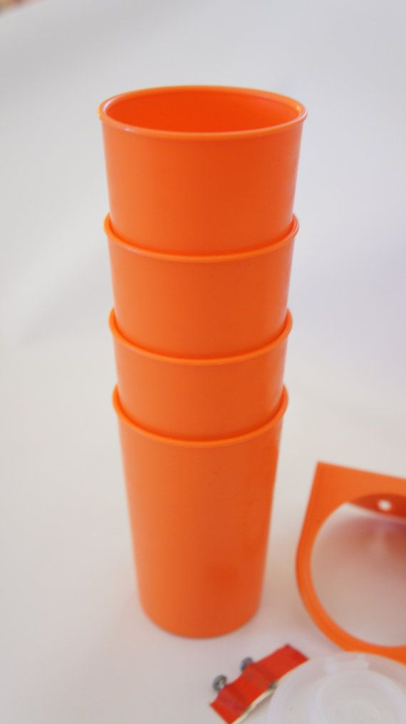 70s OrangeTupperware spice containers with by SycamoreVintage, $25.00