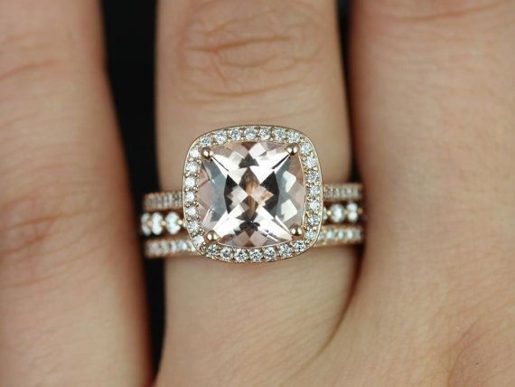 Hollie & Petite BubbleBreathe 14kt Rose Gold Cushion Morganite and Diamonds Halo TRIO Wedding Set (Other metals and stone options available)
