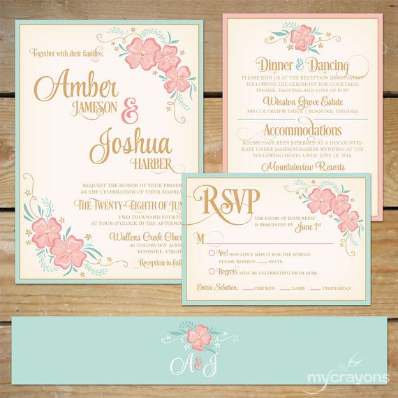 printable floral wedding invitation suite diy wedding invite mint and peach floral wedding invite mint and pink wedding