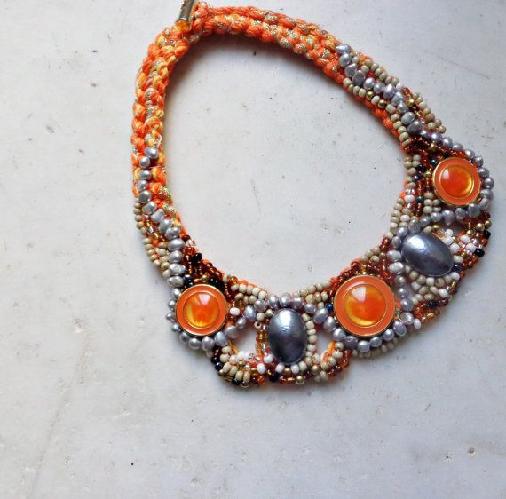 Button necklace, necklace with stones, orange necklace, crochet necklace