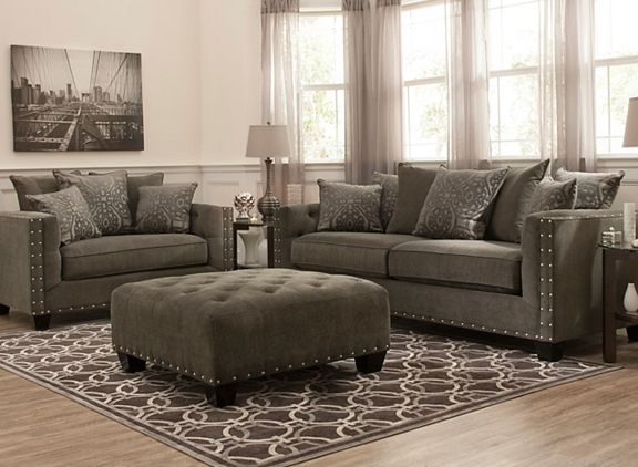 Cindy crawford calista microfiber sofa sofas raymour for Cindy crawford living room furniture