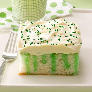 Wearing O' Green Cake Recipe from Taste of Home :: shared by Marge Nicol of Shannon, Illinois ::  http://pinterest.com/taste_of_home/