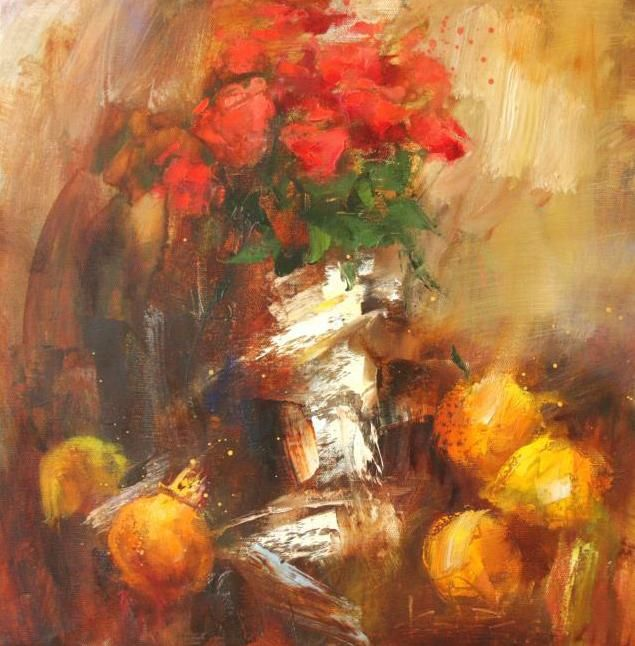Сухоплюев Константин. Композиция с розами я цитрусами, Suhopljuev Constantine. Composition with roses I citrus