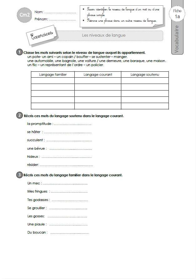 Exercices VOCABULAIRE CM2: les niveaux de langue | Niveau ...