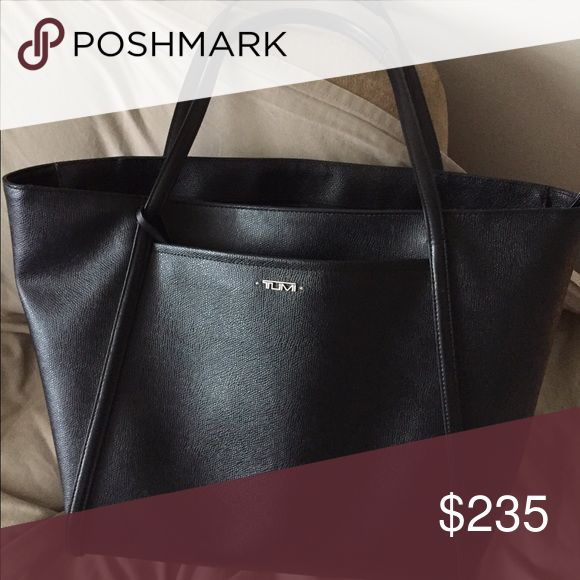 """Tumi Shoulder Tote Tumi Shoulder Tote, black, holds up to 17"""" computer. Has two external pockets and one zipper pocket inside and two additional pockets inside. Sturdy material, easy to clean. Used approximately 8 times. Tumi Bags Totes"""