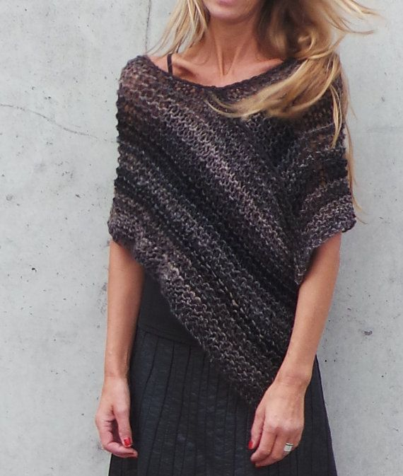 Poncho brown and black poncho loose knit poncho by ileaiye