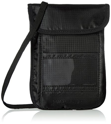 AmazonBasics RFID Travel Neck Stash Wallet Black