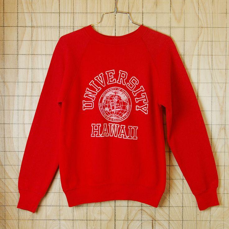 【ビンテージ】アメリカ古着UNIVERSITY HAWAII(ハワイ大学)レッド(赤)プリントカレッジスウェット・トレーナー