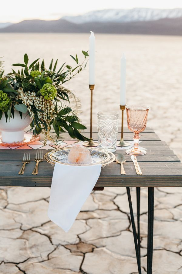 Blush and Greenery Desert Tablescape