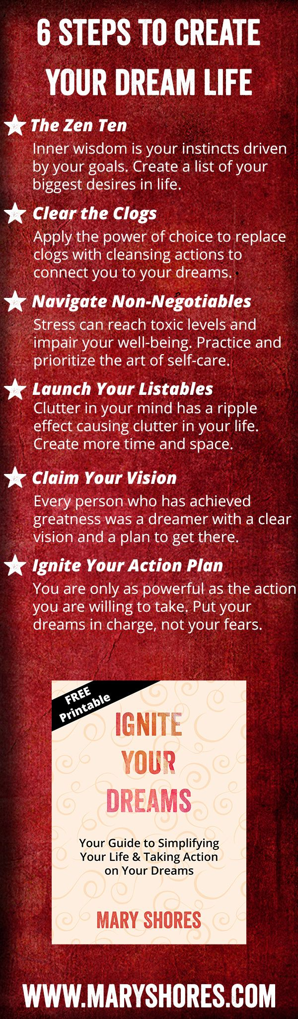 [FREE PRINTABLE] Create Your Dream Life - Ignite Your Dreams Workbook - Hay House Author Mary Shores - Sign Up to Download