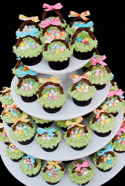 Easter Basket cupcake tower.....these are just toooo cute