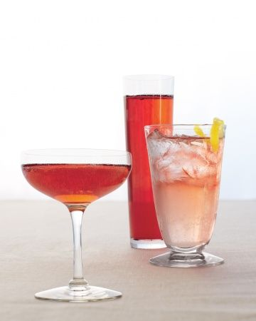 Pink coloured cocktails. I'm a big fan of Prosecco with a couple of drops of Chambord - really pretty, really tasty and really easy to do on a budget!