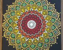 Arte de pared de Mandala mandala pintura/Bohemia/dot trabajo / dotillism / pintura / 16 x 20 / meditación / yoga/espiritual/flor/oro