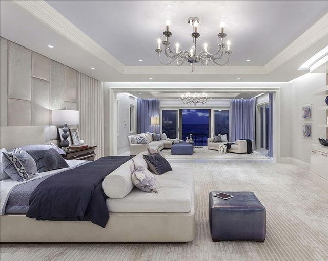 traditional master bedroom with carpet chandelier high ceiling built in bookshelf - Luxury Modern Bedroom