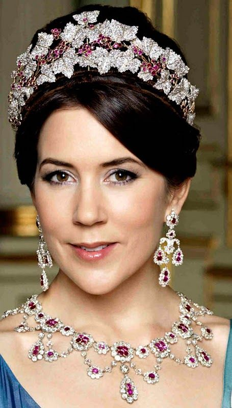 DANISH RUBY AND DIAMOND PARURE~ HRH Crown Princess Mary of Denmark wearing the ruby and diamond parure that was Crown Prince Frederick's grandmothers.
