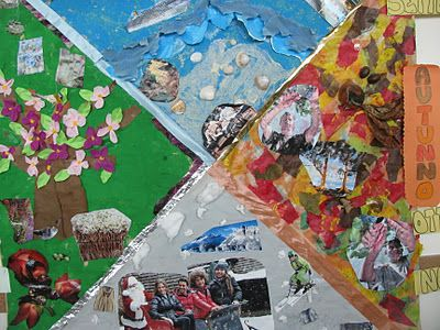 Seasons of the year collage created in Reggio Italy. (Project at home collaboration): Four Seasons, Preschool Ideas, Reggio Emilia, Art Ideas, Italy Tours, Reggio Art, Classroom Ideas, Tours Ideas, Art Projects