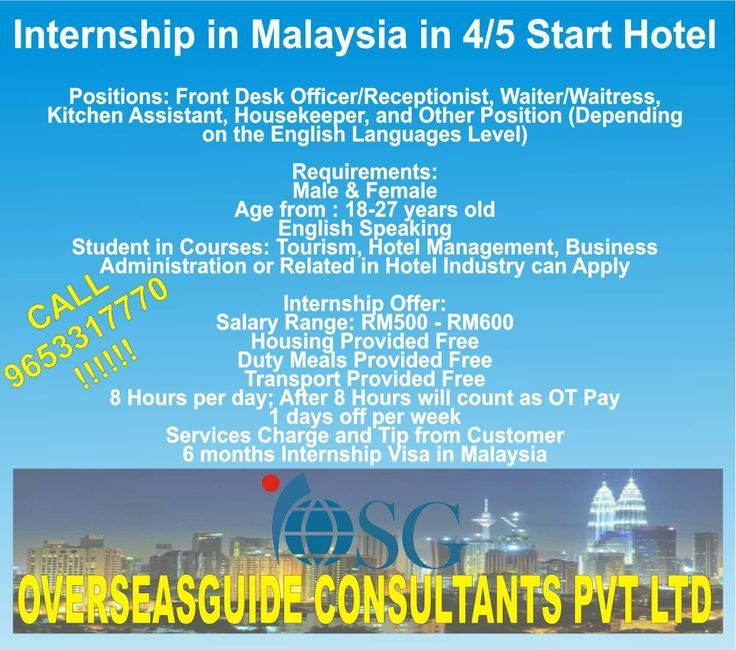 Internship In Malaysia 4 5 Start Hotels Positions Frony Desk Officer Receptionist