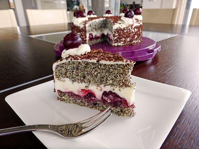 makovo višnový dort