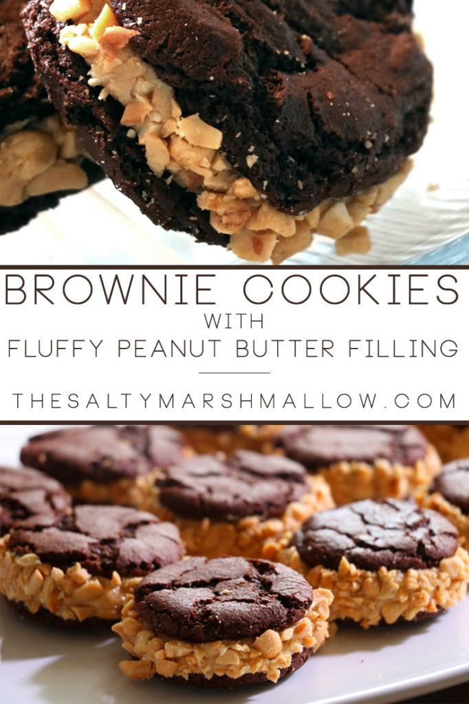 Soft chocolate brownie cookies sandwiched with fluffy peanut butter filling!