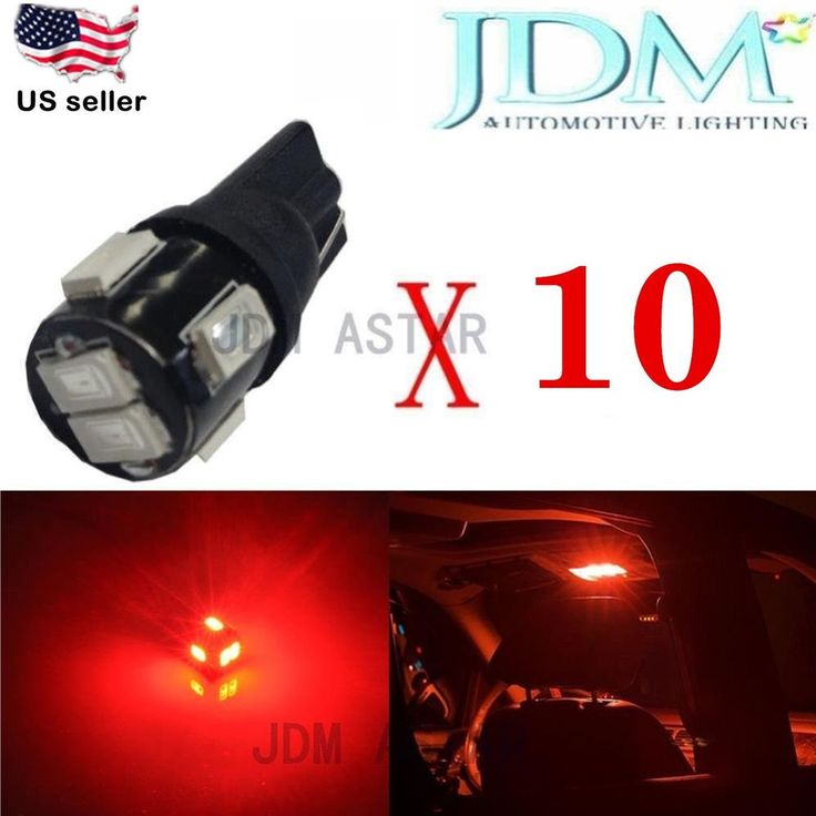 Jdm Astar 10pc T10 Red 5630 Smd High Power Led Lights Bulbs 194 168 2825 W5w 175 High Power Led Lights Automotive Led Lights Led Replacement Bulbs