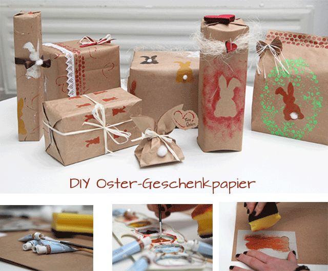 Oster-Geschenke mit unserem selbst gestalteten Oster-Geschenkpapier :)