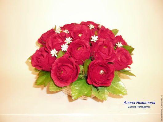 Подарки для влюбленных ручной работы. Ярмарка Мастеров - ручная работа. Купить Корзина с розами. Handmade. Букеты из конфет, свадьба, бордовый