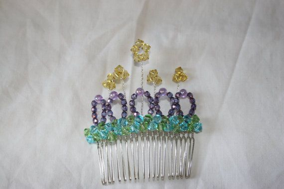 Multi Coloured Beaded Hair Comb