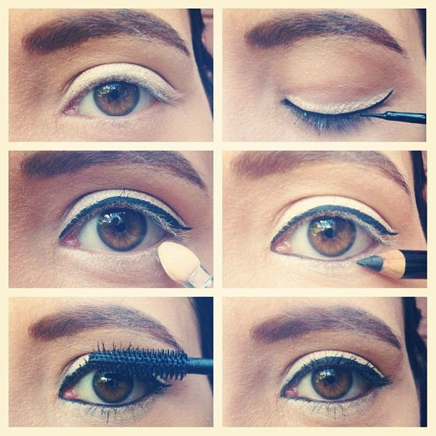 Siyah eyeliner ve beyaz farla aydınlık gözler :)