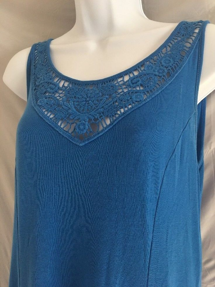RALPH LAUREN Dress Sz LARGE Blue TRAPEZE TENT Knit Neck SLEEVE LESS Women D  #LaurenRalphLauren