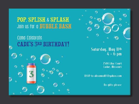 Bubble Birthday Party Invitation by PaperPerfectionist on Etsy, $20.00