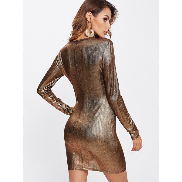 SheIn(sheinside) Form Fitting Overlap Hem Metallic Dress ($14) ❤ liked on Polyvore featuring dresses, mini party dresses, body con dress, bodycon party dresses, party dresses and brown bodycon dress