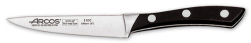 Arcos Forged Terranova 4  Inch 100 mm  Paring  Knife by Arcos. $38.66. Precise cutting tool used by professional chefs worldwide. Arcos Terranova 4 inch forged paring  knife specially designed for peeling fruits and vegetables. Made of hardened and tempered  forged NITRUM® stainless steel. Features an ergonomic and elegant  design providing   balance and a comfort grip. State-of-the-art made blade ensures high cutting power ( over 100 mm ) and long edge retention (over 350 mm)....