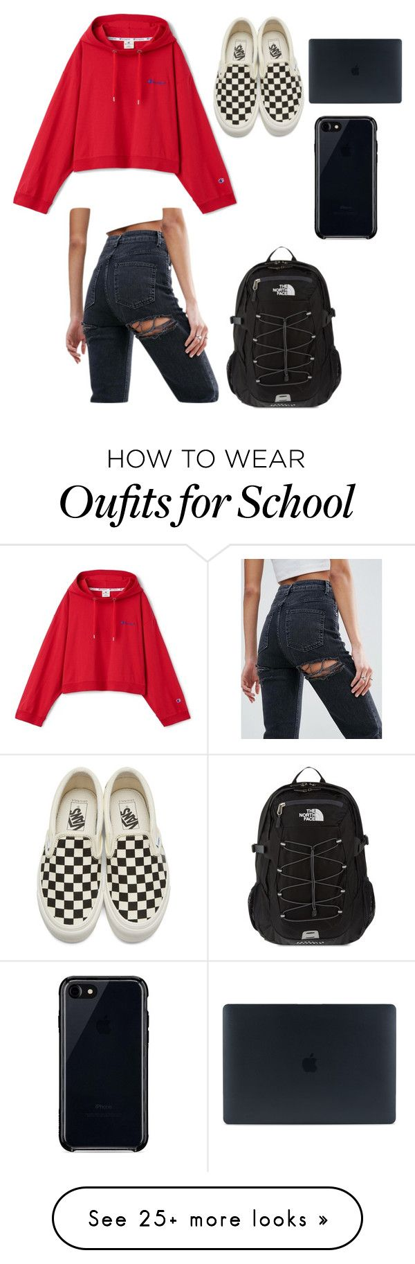 """School"" by kpescobar on Polyvore featuring Vans, ASOS, The North Face and Belkin"