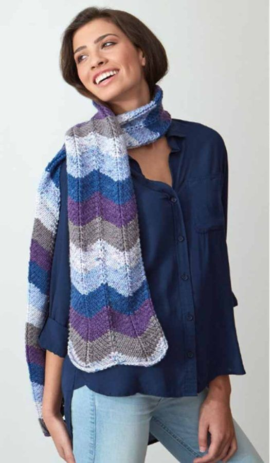 Red Heart's free Chevron Scarf pattern, knitted from With ...