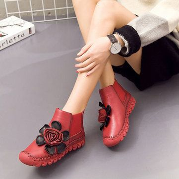 SOCOFY Retro Handmade Splicing Flower Ankle Flat Leather Boots