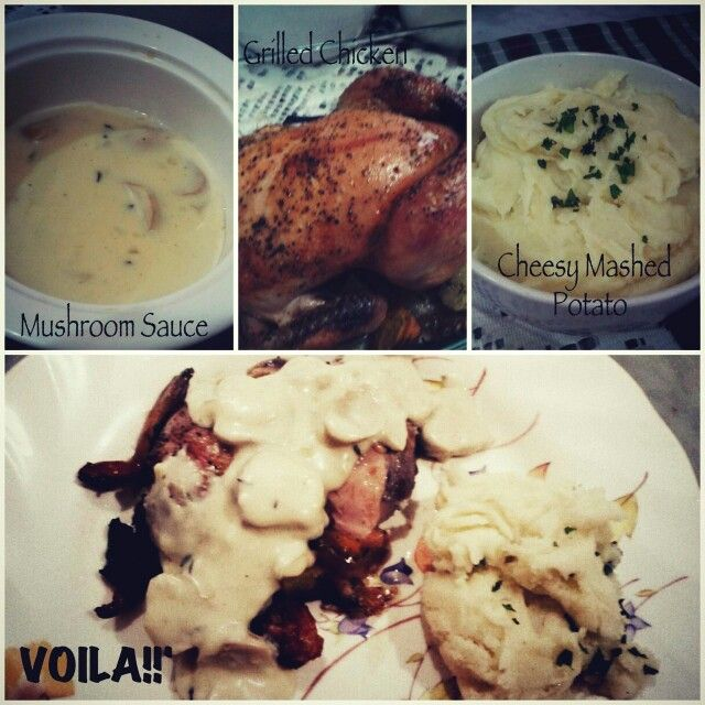 #homemade Grilled Chicken with veggie, Cheesy Mashed Potato and Mushroom Sauce