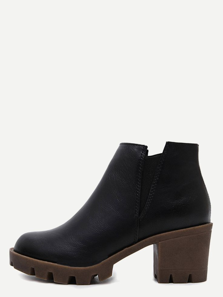 Shop Black Distressed PU Elastic Chunky Heel Ankle Boots online. SheIn offers Black Distressed PU Elastic Chunky Heel Ankle Boots & more to fit your fashionable needs.